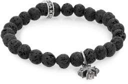 King Baby Studio Lava Rock & Sterling Silver Beaded Cross Bracelet