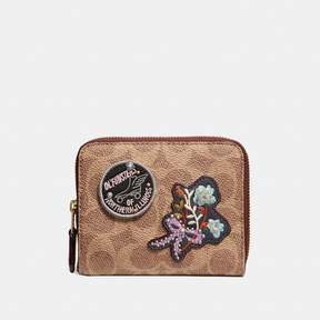 Coach Small Zip Around Wallet In Signature Canvas With Patches