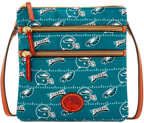 Dooney & Bourke Philadelphia Eagles Nylon Triple Zip Crossbody - BLACK - STYLE