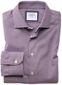 Charles Tyrwhitt Slim Fit Semi-Spread Collar Business Casual Non-Iron Modern Textures Red Multi Dogtooth Cotton Dress Shirt Single Cuff Size 16/33