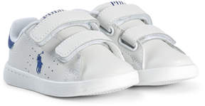 Ralph Lauren White Leather Velcro Trainers with Blue Pony