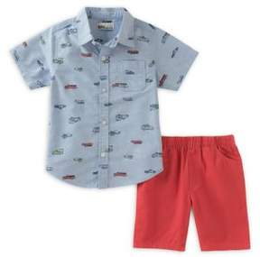 Kids Headquarters Little Boy's Two-Piece Cotton Collared Shirt and Twill Shorts Set