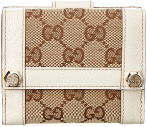 Gucci Brown Gg Supreme Canvas & White Leather Trim French Wallet - ONE COLOR - STYLE