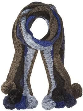 BCBGMAXAZRIA Crochet Stripe Pom Muffler Scarves