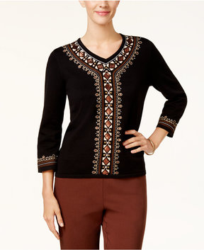 Alfred Dunner Jungle Love Beaded Embroidered Sweater