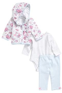 Little Me Infant Girl's Rose Dot Quilted Hoodie Bodysuit & Leggings Set