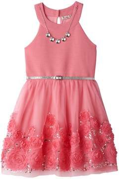 Knitworks Girls 7-16 Coral Soutache Flower Border Skater Dress