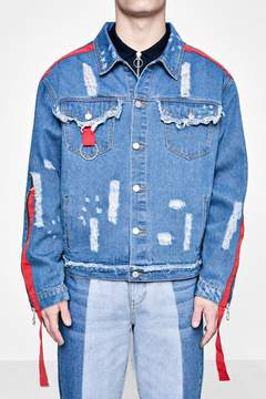 boohoo TYGA Zip and Tape Detail Distressed Denim Jacket