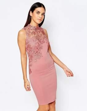 Club L Crochet Detail Mini Dress With High Neck