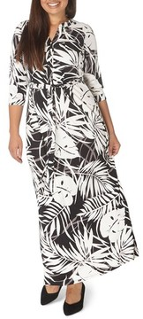 Evans Plus Size Women's Palm Print Maxi Dress