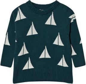 Bobo Choses Green Alma Sailing Print Knitted Jumper