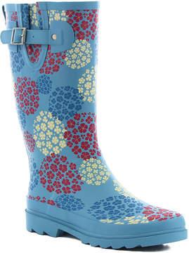 Western Chief Vintage Blue Hydrangea Blooms Rain Boot - Women