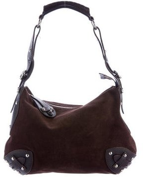 Furla Suede Leather-Trimmed Shoulder Bag