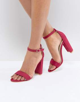 Glamorous Fuschia Barely There Block Heeled Sandals