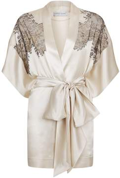 Carine Gilson Lace Trim Silk Kimono