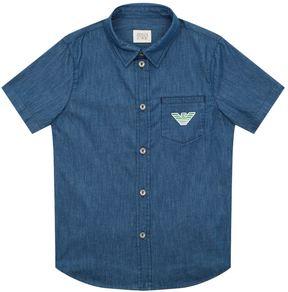 Armani Junior Logo Pocket Short Sleeve Denim Shirt