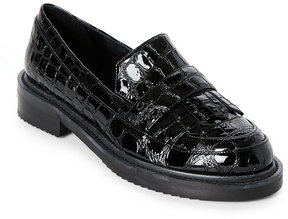 Aperlaï Black Leather Kiltie Loafers