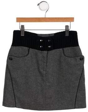 Ermanno Scervino Girls' Wool Colorblock Skirt