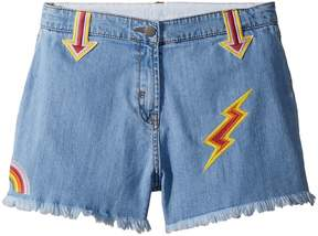 Stella McCartney Marlin Cut Off Denim Shorts w/ Patches Girl's Shorts