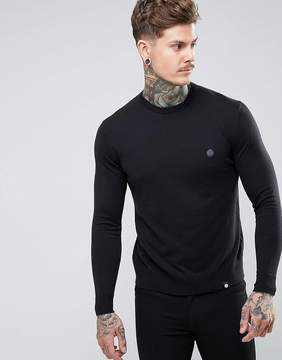Pretty Green Hinchcliffe Crew Neck Sweater in Black