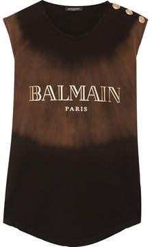 Balmain Button-embellished Bleach-effect Printed Cotton-jersey Top - Black
