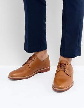 Red Tape Derby Shoes In Milled Tan Leather