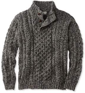 L.L. Bean L.L.Bean Heritage Sweater, Irish Fisherman's Button-Mock
