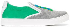 Fendi Kids logo patch slip-on sneakers