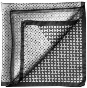 Aspinal of London Savile Row Silk Twill Pocket Square In Silver Charcoal