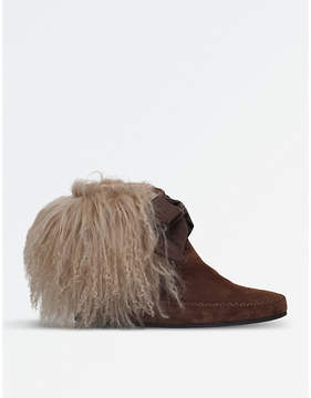 Etro Curly shearling suede ankle boots
