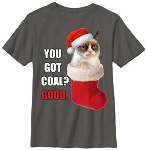 Fifth Sun Charcoal Grumpy Cat 'You Got Coal?' Tee - Youth