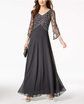 J Kara Embellished V-Neck Gown