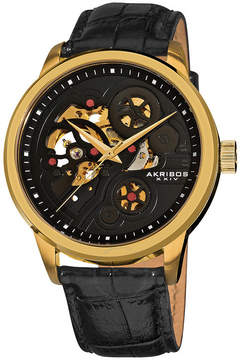 Akribos XXIV Akribos Manual Wind Skeleton Dial Gold-Tone Stainless Steel Men's Watch