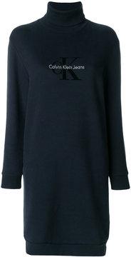 Calvin Klein Jeans logo turtleneck jersey dress