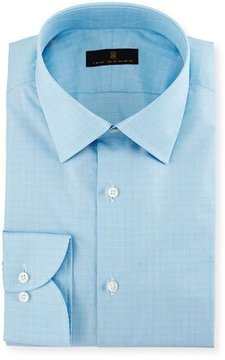 Ike Behar Gold Label Micro-Glen Plaid Dress Shirt, Aqua