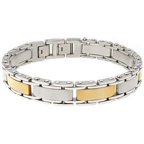JCPenney FINE JEWELRY Mens Stainless Steel and Gold Ion Plated Link Bracelet