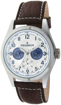 Peugeot Mens Brown Leather Strap Watch