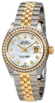 Rolex Lady Datejust Mother of Pearl Diamond Stainless Steel and 18K Yellow Gold Jubilee Watch