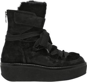 Janet & Janet 60mm Suede & Shearling Wedge Boots