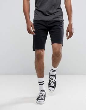 Pull&Bear Raw Hem Denim Shorts In Black