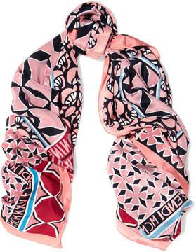 Fendi Printed Silk Crepe De Chine Scarf - Pink