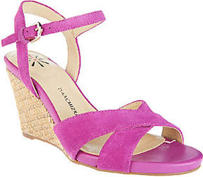 Isaac Mizrahi Live! Lthr &Suede Crossover StrapWedge Sandals