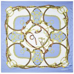 Aspinal of London Horseshoe Silk Scarf In Misty Blue