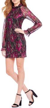 WAYF Denise Long Bell Sleeve Metallic Lace Mini Dress