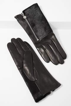 7 For All Mankind Half Calf Hair Glove With Side Zipper In Black