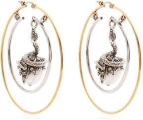 Alexander McQueen Faux-pearl drop hoop earrings