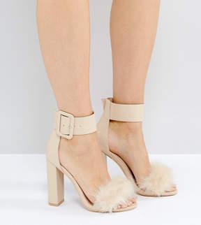 Public Desire Power Nude Faux Fur Block Heeled Sandals