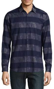 Report Collection Striped Cotton Casual Button-Down Shirt