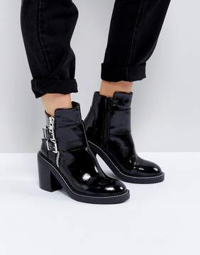 Asos ELABY Leather Patent Heeled Ankle Boots