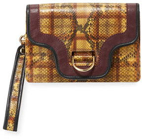Marc Jacobs Uptown Plaid Python Clutch Bag - YELLOW - STYLE